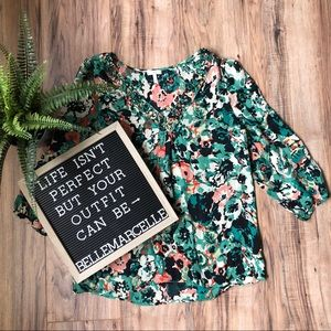 Joie Silk Floral Blouse Green Medium
